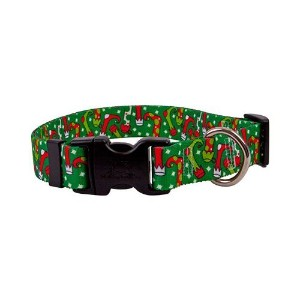 Christmas Stockings Dog Collar - Size Small 10 to 14 Long - Made In The USA by Yellow Dog Design