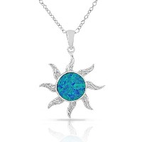 925 Sterling Silver Womens Blue Turquoise-Tone Sun Simulated Opal Pendant Necklace
