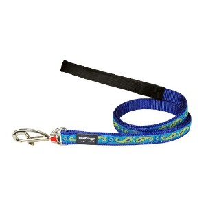 Red Dingo L6-P2-DB-SM Dog Lead Design Green & Blue Paisley, Small