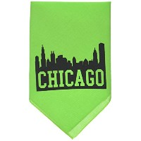 Mirage Pet Products 66-76 SMLG Chicago Skyline Screen Print Bandana Lime Green Small