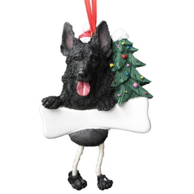 German Shepherd Ornament Black with Unique Dangling Legs Hand Painted and Easily Personalized Christmas Ornament by E&S Pets