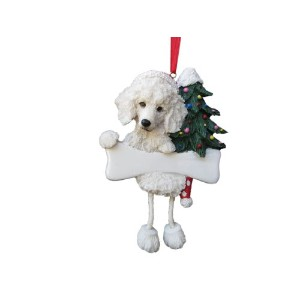Poodle Ornament White with Unique Dangling Legs Hand Painted and Easily Personalized Christmas...