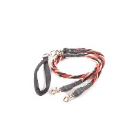 Bungee Pupee TT303D Double Large Up to 65 Lbs - Red and Black and Gold 4 ft. Leash