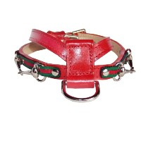 Goochee K Dog Harness, Large, 21 to 24, for pets up to 25lbs, 3/4 wide, Red with Green and Red...