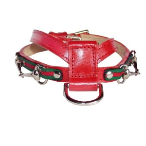 Goochee K Dog Harness, Medium, 17 1/2 to 20, for pets up to 20lbs, 3/4 wide, Red with Green and Red Stripe by POOCHEE DESIGNS