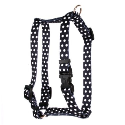 Yellow Dog Design SI-BWD103L Black Polka Dot Step-In Harness - Large