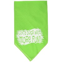 Mirage Pet Products 66-125 SMLG Dirty Dog Screen Print Bandana Lime Green Small