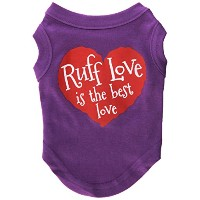 Mirage Pet Products 51-118 SMPR Ruff Love Screen Print Shirt Purple Sm - 10