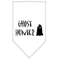 Mirage Pet Products 66-13-01 LGWT Ghost Hunter Screen Print Bandana White Large