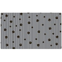Drymate 12 by 20-Inch Pet Bowl with Small/Medium Place Mat in Paw Stripe Design, Grey/Black by...