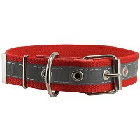 Cotton Web/Leather Reflective Dog Collar 24 Long 1.5 Wide Fits 16-22 Neck, Pitbull, Cane Corso by...