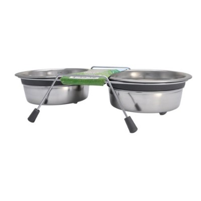 Loving Pets Silent Double Diner Bowl for Dogs, 2-Quart, Grey by Loving Pets