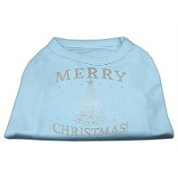 Mirage Pet Products 51-131 MDBBL Shimmer Christmas Tree Pet Shirt Baby Blue Med - 12