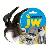 JW Pet Cataction Black And White Bird Feather Tail Lightweight Interactive Toy