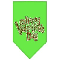 Mirage Pet Products 67-84 SMLG Happy Valentines Day Rhinestone Bandana Lime Green Small