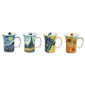 Van Gogh Coffee Mugs In Gift Box - Bone China - 10 Oz Cups - Set Of 4 by SIGNALS