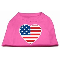 Mirage Pet Products 51-133 SMBPK American Flag Heart Screen Print Shirt Bright Pink Sm - 10