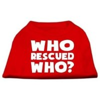 Mirage Pet Products 51-140 SMRD Who Rescued Who Screen Print Shirt Red Sm - 10