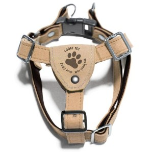 Gooby 04103-TAN-S Luxury Step-In Harness Tan and Espresso Small Soft Synthetic Lambskin Strap
