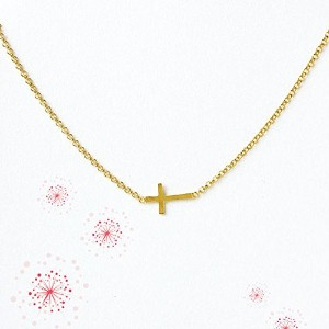 dogeared ドギャード ウイスーパーズ クロス(十字架)ゴールドディップネックレス/dogeared whispers cross gold dipped necklace