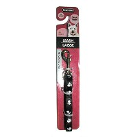 Aspen Pet Products Nylon Reflective Paw Dog Lead Collars Leashes Black 3/8X5FT