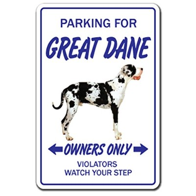PARKING FOR GREAT DANE OWNERS ONLY サインボード:グレートデーン オーナー専用 駐車スペース 標識 看板 MADE IN U.S.A [並行輸入品]