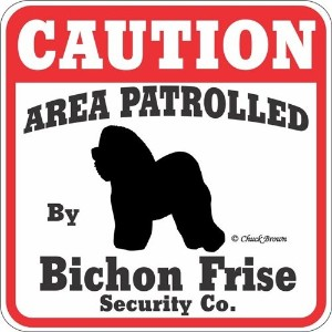 CAUTION AREA PATROLLED By Bichon Frise Security Co. サインボード:ビションフリーゼ 注意 警戒中 セキュリティ 看板 Made in U.S.A ...