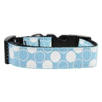 Mirage Pet Products Diagonal Dots Nylon Collar, Large, Baby Blue by Mirage Pet Products [並行輸入品]