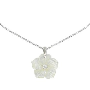 Les Poulettes Jewels – シルバーペンダントネックレスMother of Pearl Flower