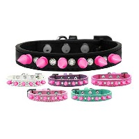 Crystal and Bright Pink Spikes Dog Collar Black Size 14
