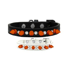 Crystal and Neon Orange Spikes Dog Collar Black Size 10