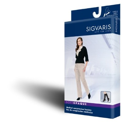 Sigvaris 841N Soft Opaque 15-20 mmHg Closed Toe Thigh Highs Color: Black 99, Size: Small Long (SL)...