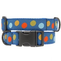 Max & Zoey Polka Dot Dog Collar, Large, Blue/Multi [並行輸入品]
