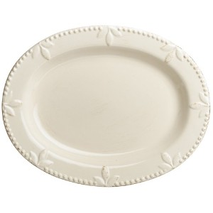 Signature Housewares Sorrento Collection 14-Inch Oval Serving Platter, Ivory Antiqued Finish by...