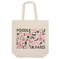 Poodle肩掛けトートバッグ POODLE IN PARIS(P002) (ピンク)