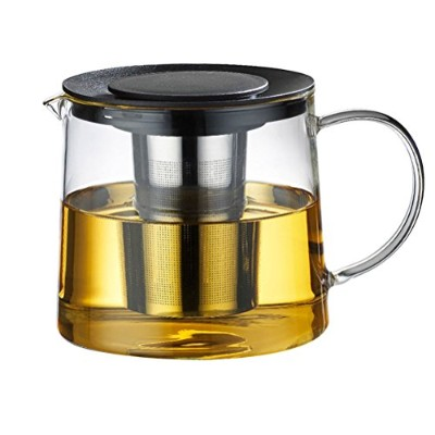 Zhhlaixing 高品質の 1500 ml Heat Resistant Clear Glass Teapot,Stainless Steel Infuser F083B