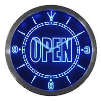 LEDネオンクロック 壁掛け時計 nc0270-b OPEN Shop Display Cafe Business Neon Sign LED Wall Clock
