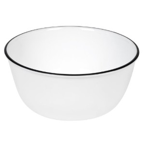 Corelle Livingware 28-Ounce Super Soup/Cereal Bowl, Classic Cafテつソ Black Rim Only by CORELLE