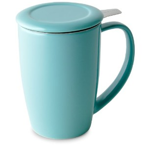 FORLIFE Curve Tall Tea Mug with Infuser and Lid 15 ounces, Turquoise by FORLIFE