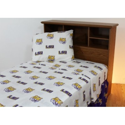 College Covers Louisiana State Tigers Printed Sheet Set, Twin, White by College Covers [並行輸入品]