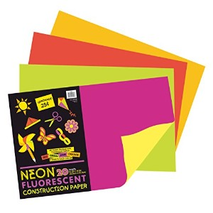 Neon Construction Paper, 76 lbs., 12 x 18, Assorted, 20 Sheets/Pack (並行輸入品)