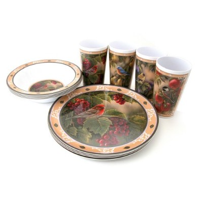 Motorhead Products Wild Wings Gift Boxed 12-Piece Melamine Tableware Sets, Songbird Series by R&D Enterprises/Motorhead Products