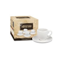 Konitz Coffee Bar Espresso Cups and Saucers, 2-Ounce, White, Set of 4 by Konitz