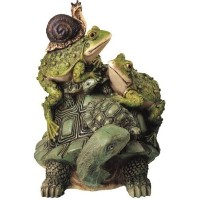 StealStreet SS-G-61005, Frog On Turtle with Snail Collectible Garden Decoration Figurine Statue by...