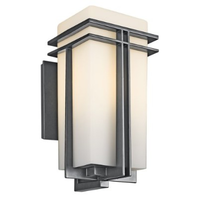 Kichler Lighting 49202BK Tremillo 17-1/2-Inch Light Outdoor Wall Lantern, Black with Satin-Etched...
