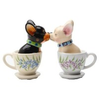 Salt & Pepper Shakers Set - TEA CUP PUPS New Ceramic Kitchen Gifts 8174