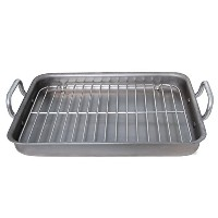 De Buyer 5664.40 Rectangular Steel Roasting Pan Mineral B Element with 2 Aluminum Handles, Grey by...