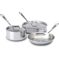 All-Clad 401599 Stainless Steel Tri-Ply Bonded Dishwasher Safe Cookware Set, 5-Piece, Silver by All...