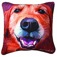 Manual Nutmeg Golden Retriever Paws and Whiskers Decorative Square Pillow, 18-Inch by Manual...