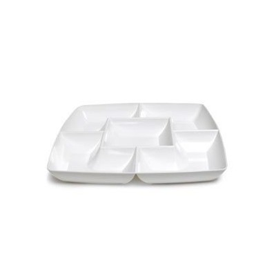 White Square Plastic Compartment Serving Tray 12-inch by Maryland Plastics